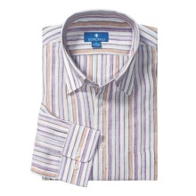 Toscano Linen Stripe Shirt - Long Sleeve (For Men) in Mandarian - Closeouts