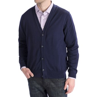 Toscano Merino Wool Cardigan Sweater - Zegna Barrufa (For Men) in 941 Midnight
