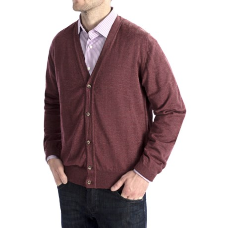 Toscano Merino Wool Cardigan Sweater - Zegna Barrufa (For Men) in Plum