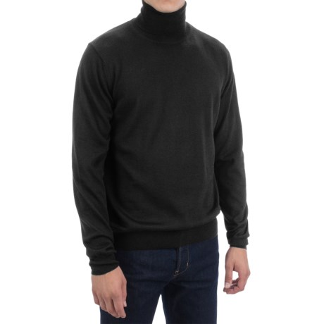 Toscano Merino Wool Turtleneck (For Men) in Black