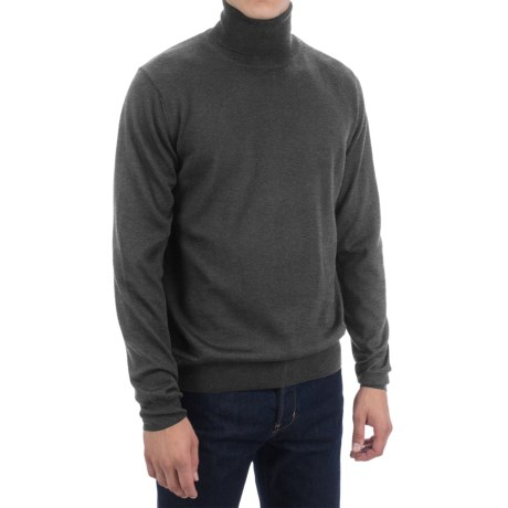 Toscano Merino Wool Turtleneck (For Men) in Earl Grey Melange
