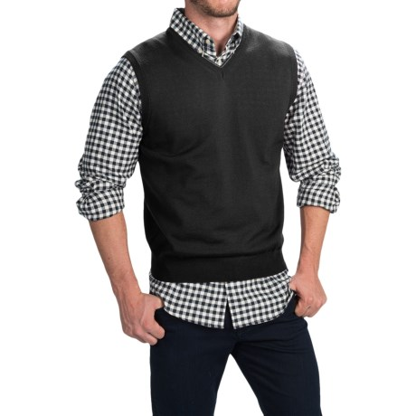 Toscano Merino Wool Vest (For Men) in Black