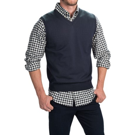 Toscano Merino Wool Vest (For Men) in Dark Midnigt