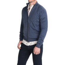 Toscano Mock Neck Cardigan Sweater - Merino Wool, Full Zip (For Men) in Eclipse Blue - Closeouts