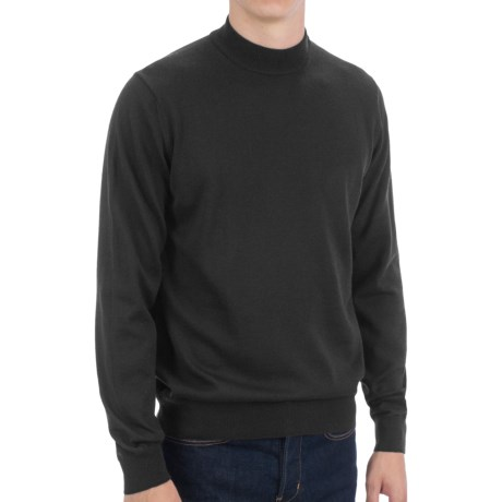 Toscano Mock Turtleneck Sweater - Italian Merino Wool (For Men) in Ink Blue Melange