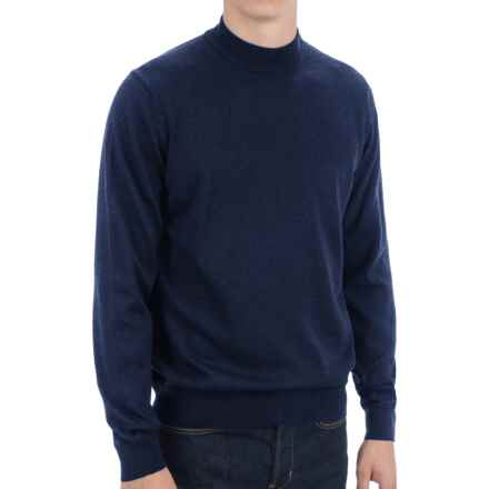 Toscano Mock Turtleneck Sweater - Italian Merino Wool (For Men) in Cosmos Melange - Closeouts