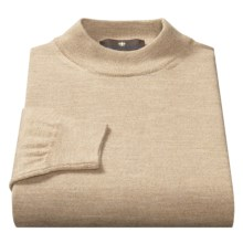 Toscano Mock Turtleneck Sweater - Italian Merino Wool (For Men) in Earl Grey Melange - Closeouts
