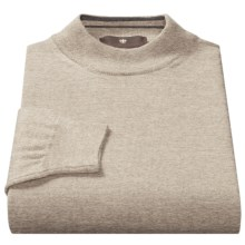 Toscano Mock Turtleneck Sweater - Italian Merino Wool (For Men) in Earl Grey - Closeouts