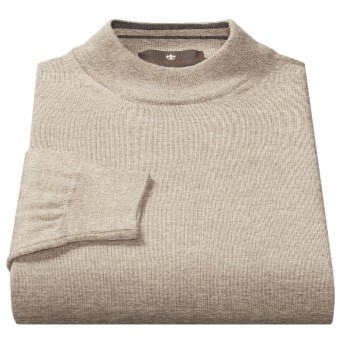 Toscano Mock Turtleneck Sweater - Italian Merino Wool (For Men) in Earl Grey
