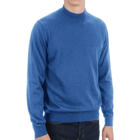 Toscano Mock Turtleneck Sweater - Italian Merino Wool (For Men) in Black