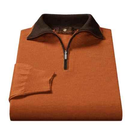 Toscano Mock Turtleneck Sweater - Merino Wool  (For Men) in Burnt Orange Heather / Dark Brown Heather - Closeouts