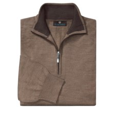 Toscano Mock Turtleneck Sweater - Merino Wool, Quarter Zip (For Men) in Cobblestone/Sumatra - Closeouts