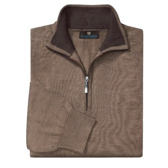 Toscano Mock Turtleneck Sweater - Merino Wool, Quarter Zip (For Men) in Cobblestone/Sumatra