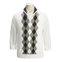 Toscano Modern Argyle Zip Neck Vest - Cotton (For Men) in Ivory - Closeouts