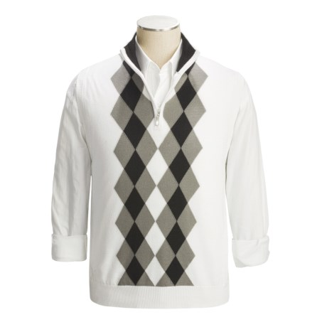 Toscano Modern Argyle Zip Neck Vest - Cotton (For Men) in Ivory