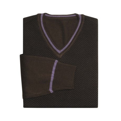 Toscano Modern Herringbone Sweater - V-Neck (For Men) in Brown