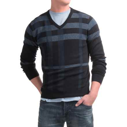 Toscano Newbury Plaid Sweater - Merino-Acrylic, V-Neck (For Men) in Dark Midnight - Closeouts