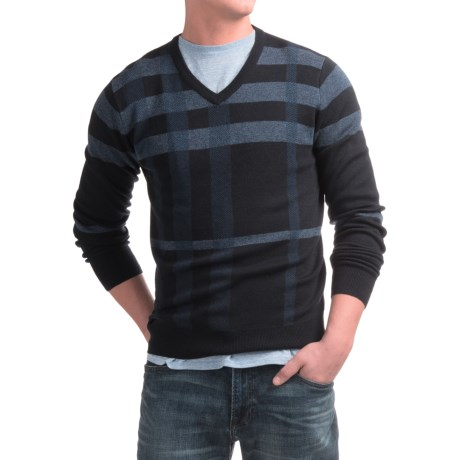 Toscano Newbury Plaid Sweater - Merino-Acrylic, V-Neck (For Men) in Dark Midnight