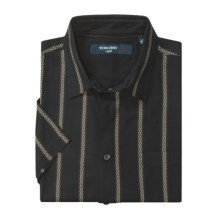 Toscano Patterned Shirt - Silk-Rayon, Short Sleeve (For Men) in Black W/Cable Stripe - Closeouts