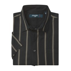 Toscano Patterned Shirt - Silk-Rayon, Short Sleeve (For Men) in Black Tee Me Up