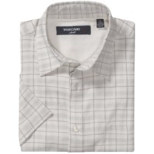 Toscano Patterned Shirt - Silk-Rayon, Short Sleeve (For Men) in Light Grey Glen Plaid - Closeouts