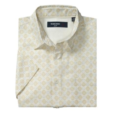 Toscano Patterned Shirt - Silk-Rayon, Short Sleeve (For Men) in Seashell Medallion Print