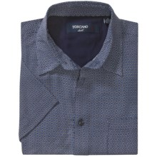 Toscano Patterned Shirt - Silk-Rayon, Short Sleeve (For Men) in Windsor Blue Tossed Geometric - Closeouts