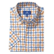 Toscano Plaid Sport Shirt - Linen-Cotton, Short Sleeve (For Men) in Mandarin - Closeouts