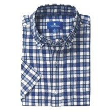 Toscano Plaid Sport Shirt - Linen-Cotton, Short Sleeve (For Men) in Stardust - Closeouts