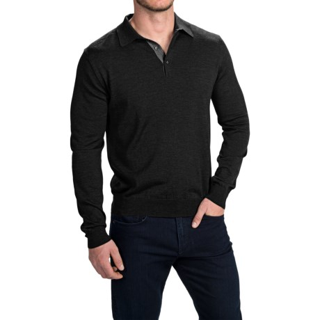 Toscano Polo Sweater - Italian Merino Wool (For Men) in Mist Melange