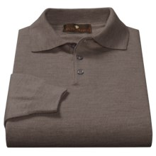 Toscano Polo Sweater - Italian Merino Wool (For Men) in Brown - Closeouts