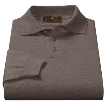 Toscano Polo Sweater - Italian Merino Wool (For Men) in Brown