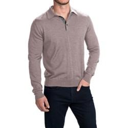 Toscano Polo Sweater - Italian Merino Wool (For Men) in Cobblestone Melange