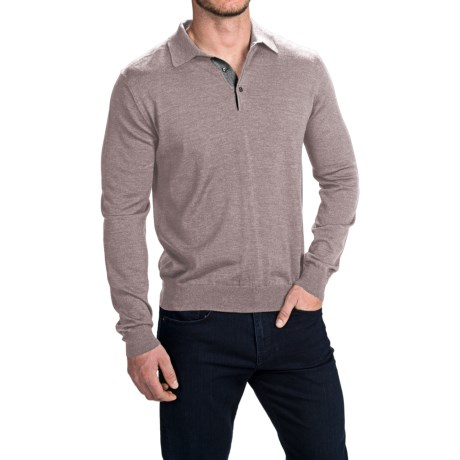 Toscano Polo Sweater - Italian Merino Wool (For Men) in Cobblestone Melange