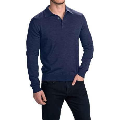 Toscano Polo Sweater - Italian Merino Wool (For Men) in Cosmos Melange