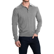 Toscano Polo Sweater - Italian Merino Wool (For Men) in Mist Melange - Closeouts