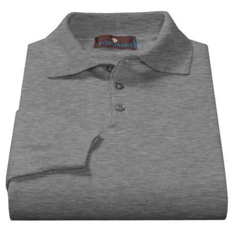 Toscano Polo Sweater - Italian Merino Wool (For Men) in Mist Melange