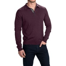 Toscano Polo Sweater - Italian Merino Wool (For Men) in Pompeii Melange - Closeouts