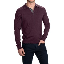 Toscano Polo Sweater - Italian Merino Wool (For Men) in Black