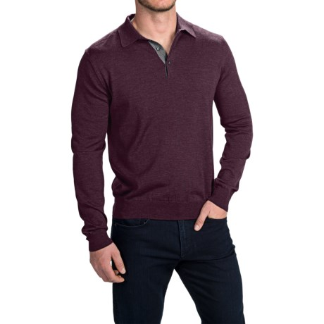 Toscano Polo Sweater - Italian Merino Wool (For Men) in Earl Grey