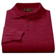 Toscano Polo Sweater - Italian Merino Wool (For Men) in Port - Closeouts