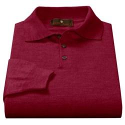 Toscano Polo Sweater - Italian Merino Wool (For Men) in Port