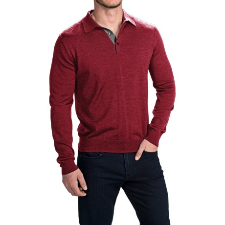 Toscano Polo Sweater - Italian Merino Wool (For Men) in Rio Red