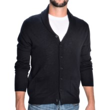 Toscano Shawl Collar Cardigan Sweater - Merino Wool (For Men) in Dark Midnight - Closeouts
