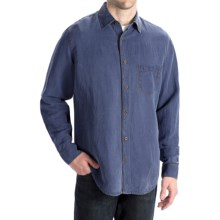 Toscano Silk-Linen Shirt - Long Sleeve (For Men) in Midnight - Closeouts
