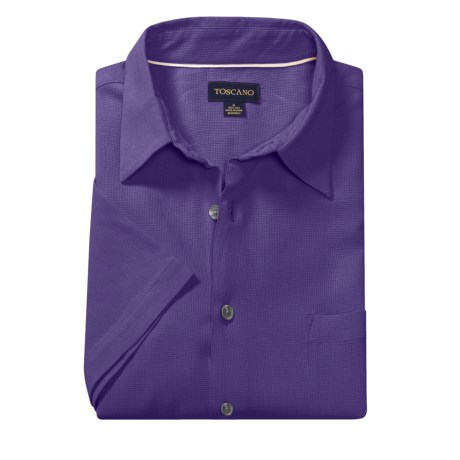 Toscano Silk Shirt - Short Sleeve (For Men) in Asten