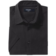 Toscano Silk Shirt - Short Sleeve (For Men) in Black - Closeouts