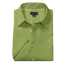 Toscano Silk Shirt - Short Sleeve (For Men) in Foliage - Closeouts