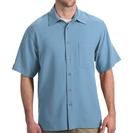 Toscano Silk Shirt - Short Sleeve (For Men) in River