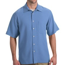 Toscano Silk Shirt - Short Sleeve (For Men) in Sky - Closeouts
